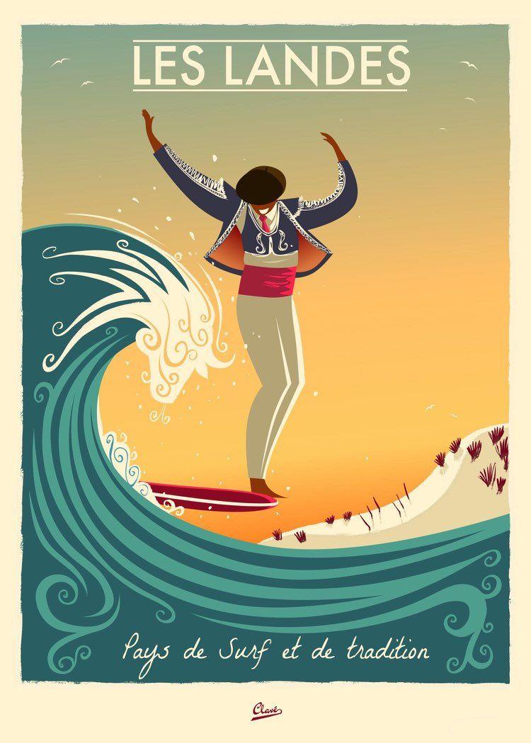 Les Landes France Vintage Surf Poster Art By Damien Clave Surf Poster Poster Art Vintage Travel Posters