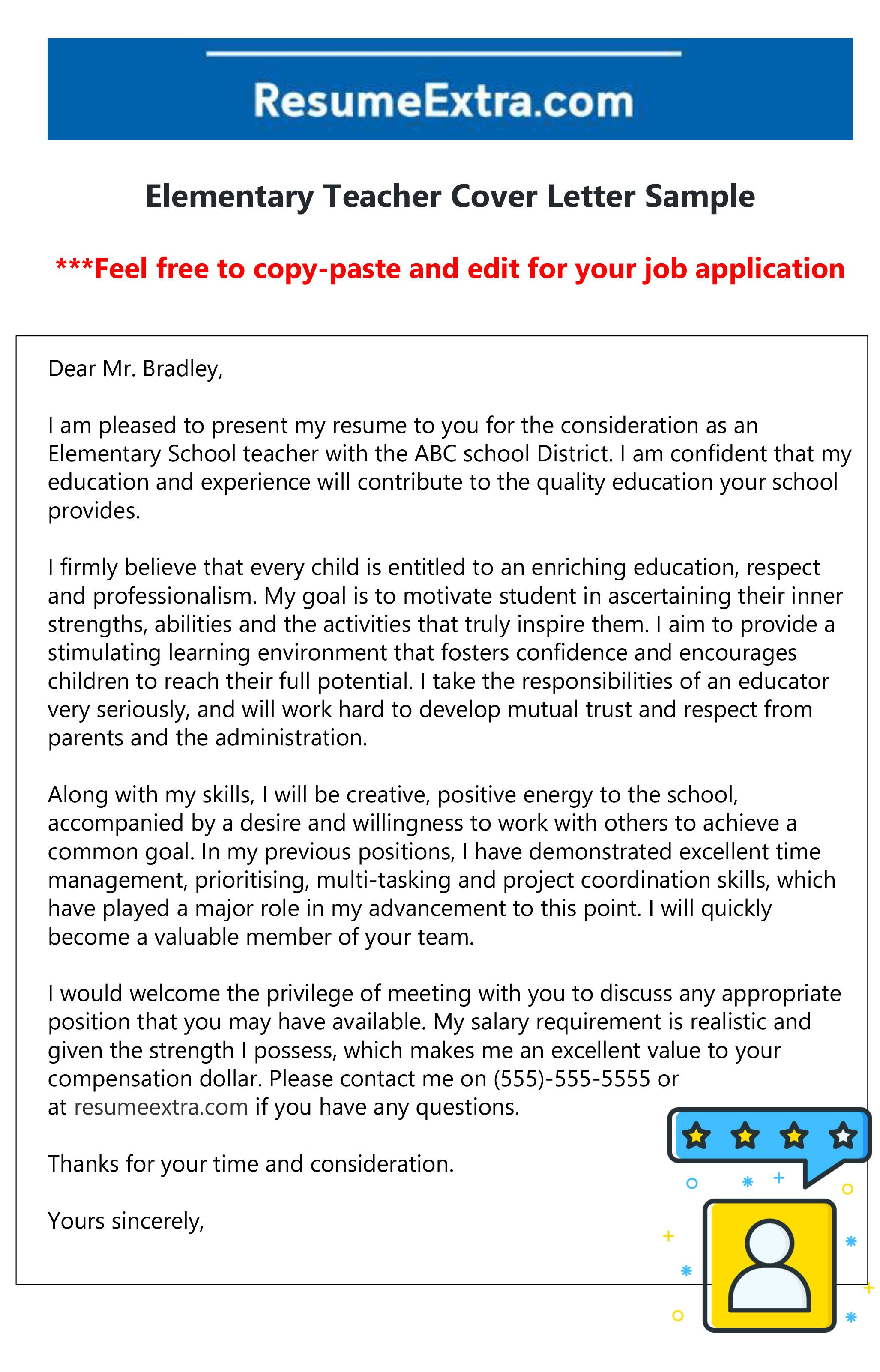 Free elementary teacher cover letter in 2021 application