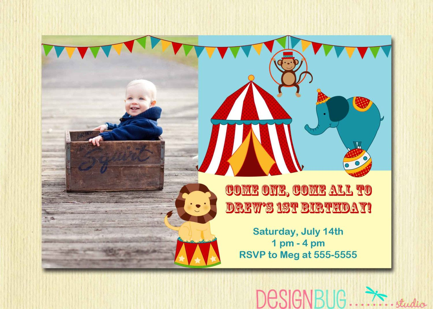 Best 25 Circus birthday invitations ideas – One Year Old Birthday Invitation