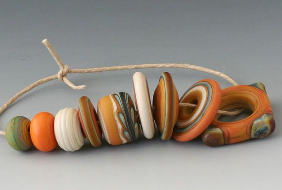 Bohemian West  9 Handmade Lampwork Beads  Terracota by outwest, $19.00