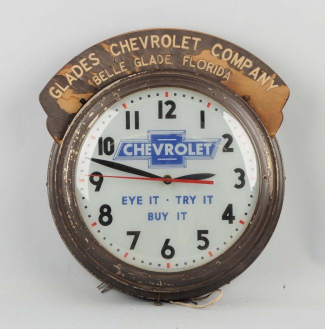 Rare Chevrolet Eye It Try It Buy It Clock