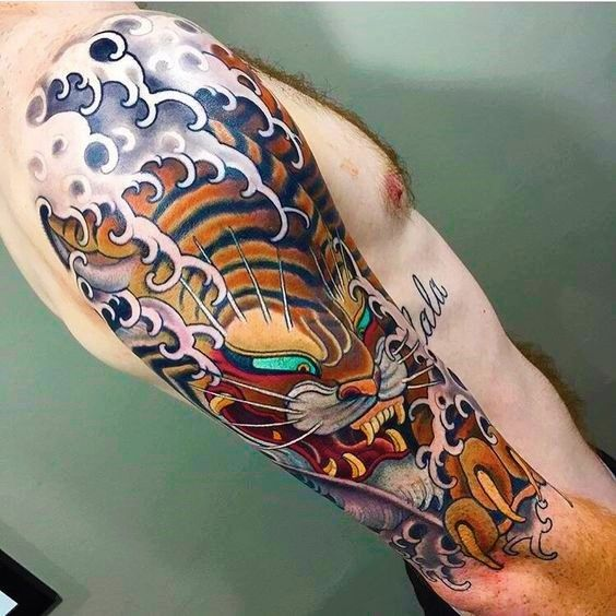 love this tattoo wind bars or waves hummm japanese tigre by stu pagdin house of daggers. Black Bedroom Furniture Sets. Home Design Ideas