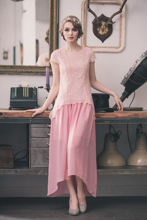 Photo of Kan's 復古低腰蕾絲雪紡長洋裝 – Kan's 重現華麗的復古美裝師  – 晚裝,禮服 | Pinkoi