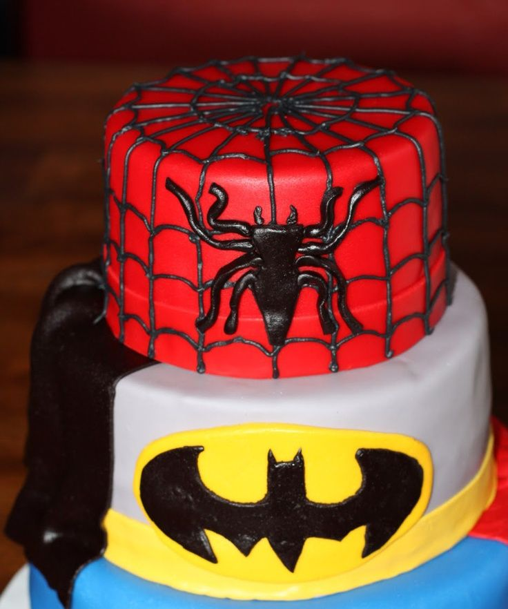 Batman spiderman cake Cakes and Cupcakes and other yumminess