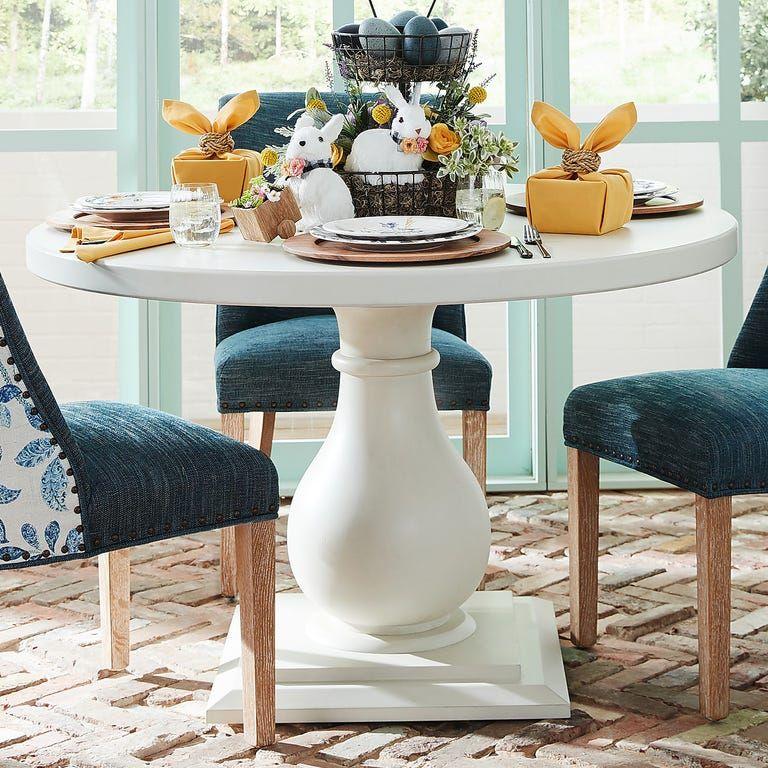 Prescott Pedestal Rain White 48 Dining Table In 2020 Dining