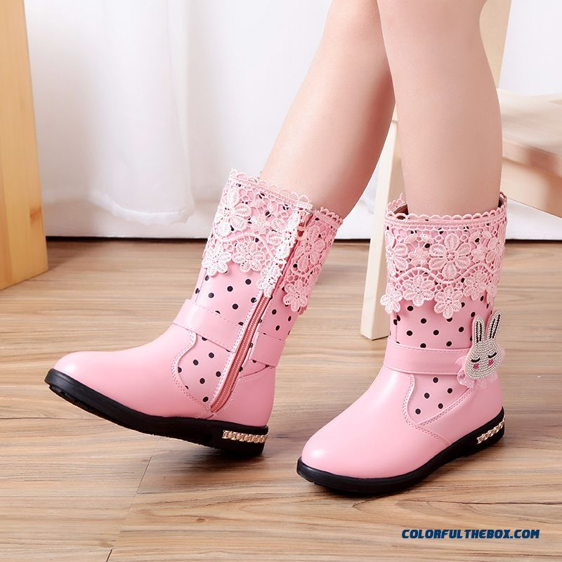 Cheap China Supplier Custom Kids Girls Shoes Half Boots Snow Pink Boots  With Lace Sale Online