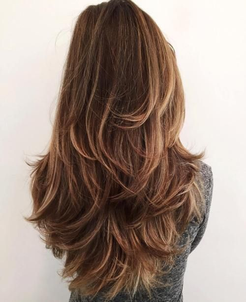 Back View Of Lovely Layered Hairstyles For Women With Hair Of Different Lengths Fashion Knots Hair Styles Long Hair Styles Haircut For Thick Hair