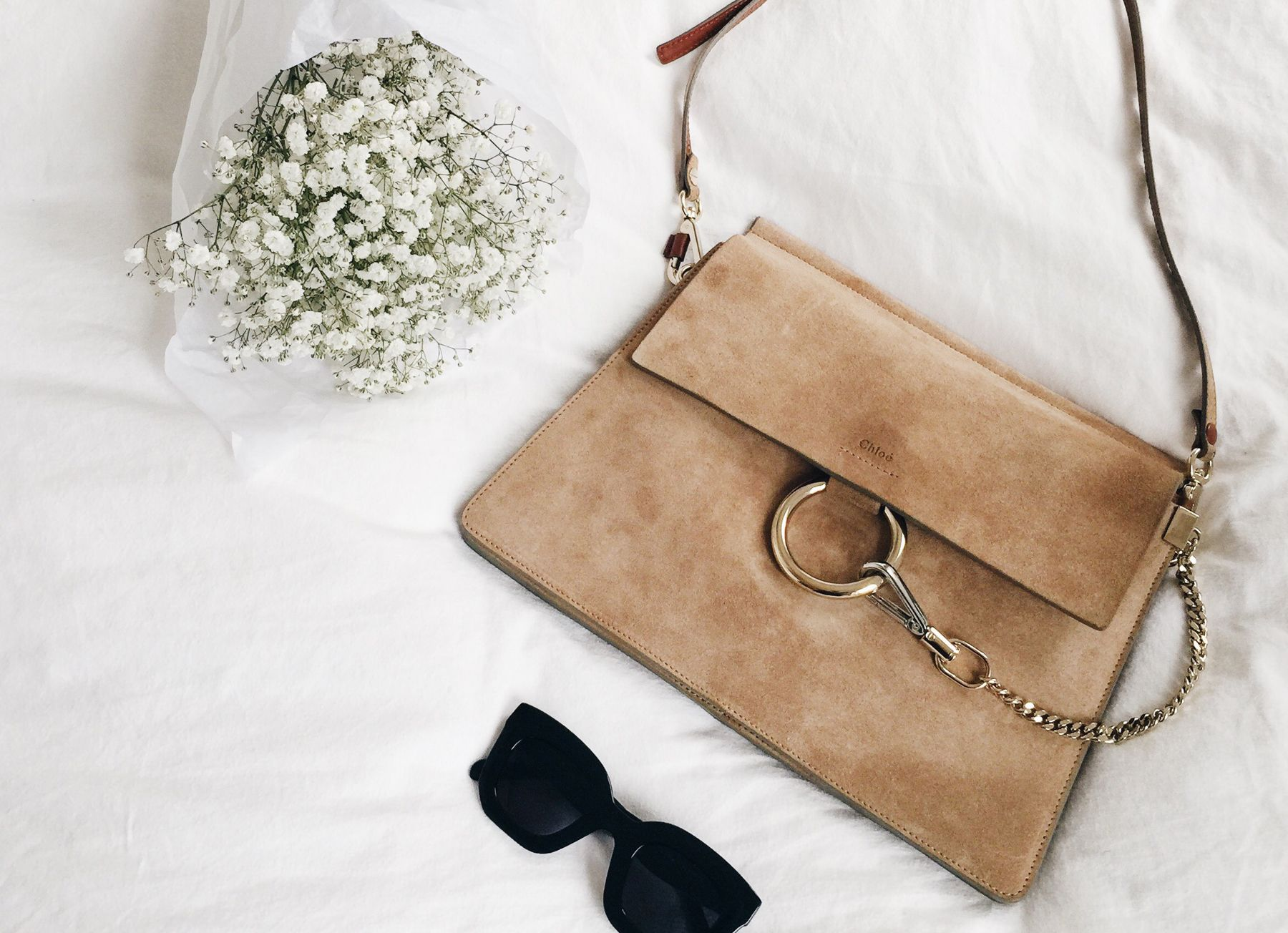 a0e26070a18fb chic Chloé Faye leather and suede crossbody bag | warm beige color |  timeless | elegant | suede front flap | gold metal ring & chain | medium  size