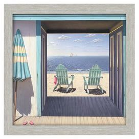 "Bring beach-chic style to your living room or den with this eye-catching canvas wall art, depicting a shoreline scene with 2 loungers.      Product: Framed canvas printConstruction Material: Canvas and driftwood Color: Natural frameFeatures: Driftwood moldingDimensions: 30"" H x 30"" W"