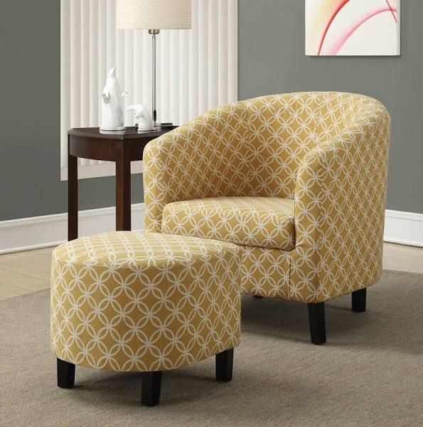 Mustard Color Couch Sofa Chair And Ottoman Set Fabric Accent Chair Chair And Ottoman