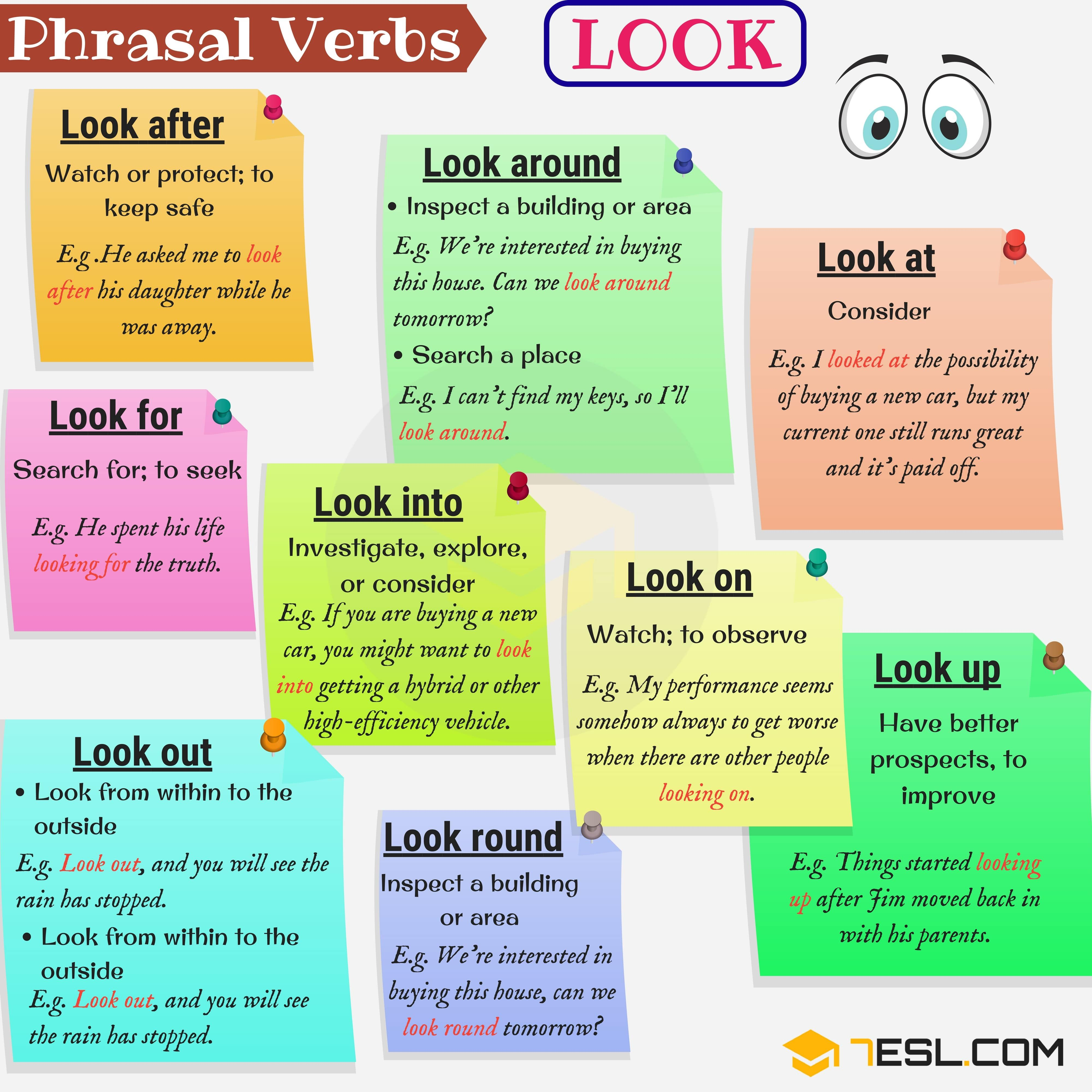 30 Common Phrasal Verbs With Look With Meaning And