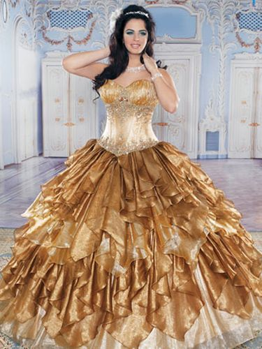 Quinceañera Dresses In Autumn Shades: Red, Gold, And Orange ...