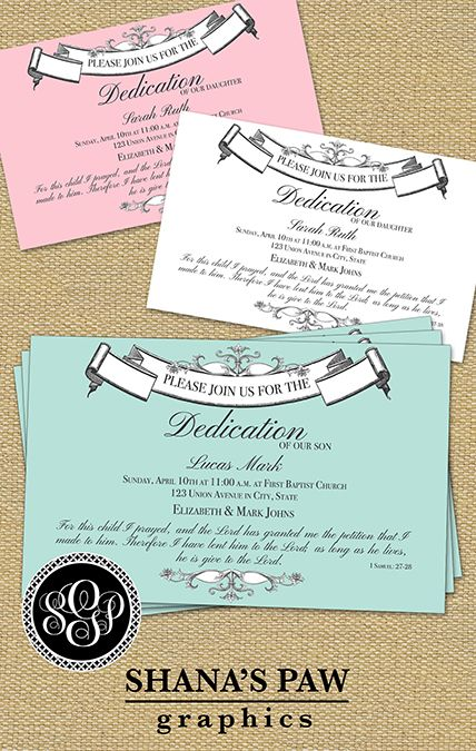 This ShanasPaw.com Dedication Invitation design has an elegant ...