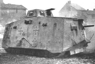 the only German tank fielded during WW1: the mighty A7V !