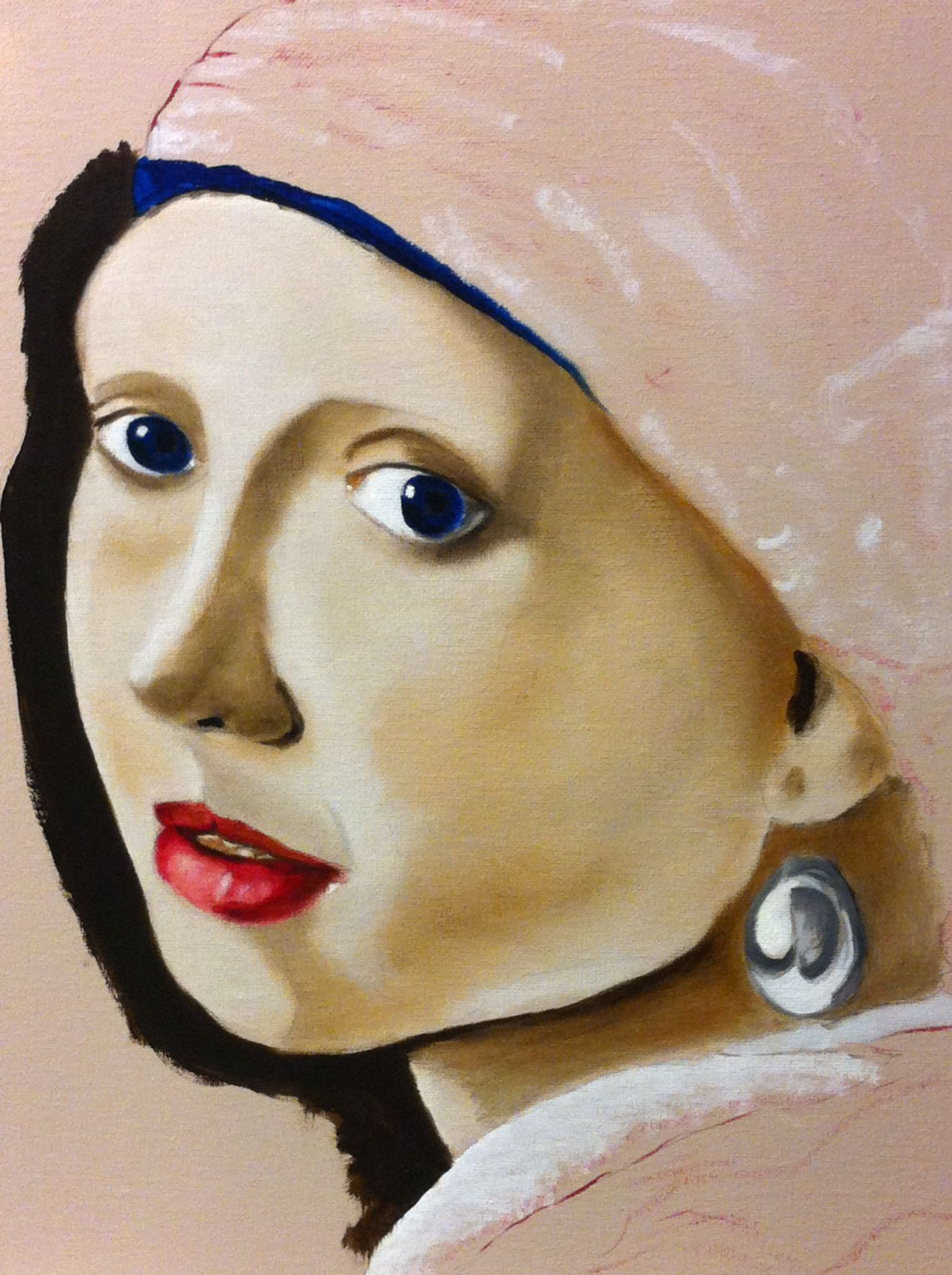 la joven de la perla in red la joven de la perla girl the pearl earring 30 x 40 cm oil on canvas