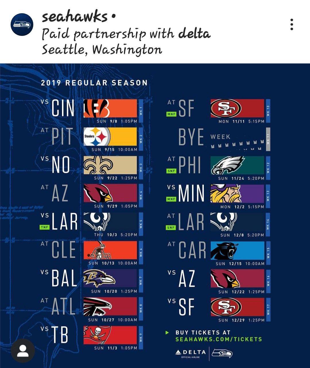Seattle seahawks 2019 schedule Seattle seahawks