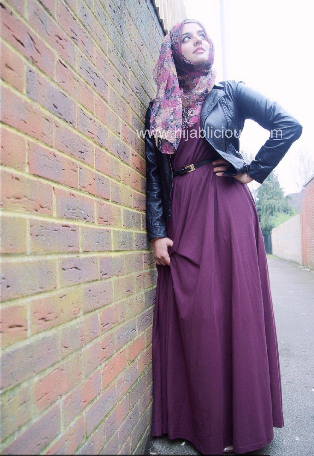 Leather jacket hijab - Hijabs Purple Abaya Black Leather Jacket