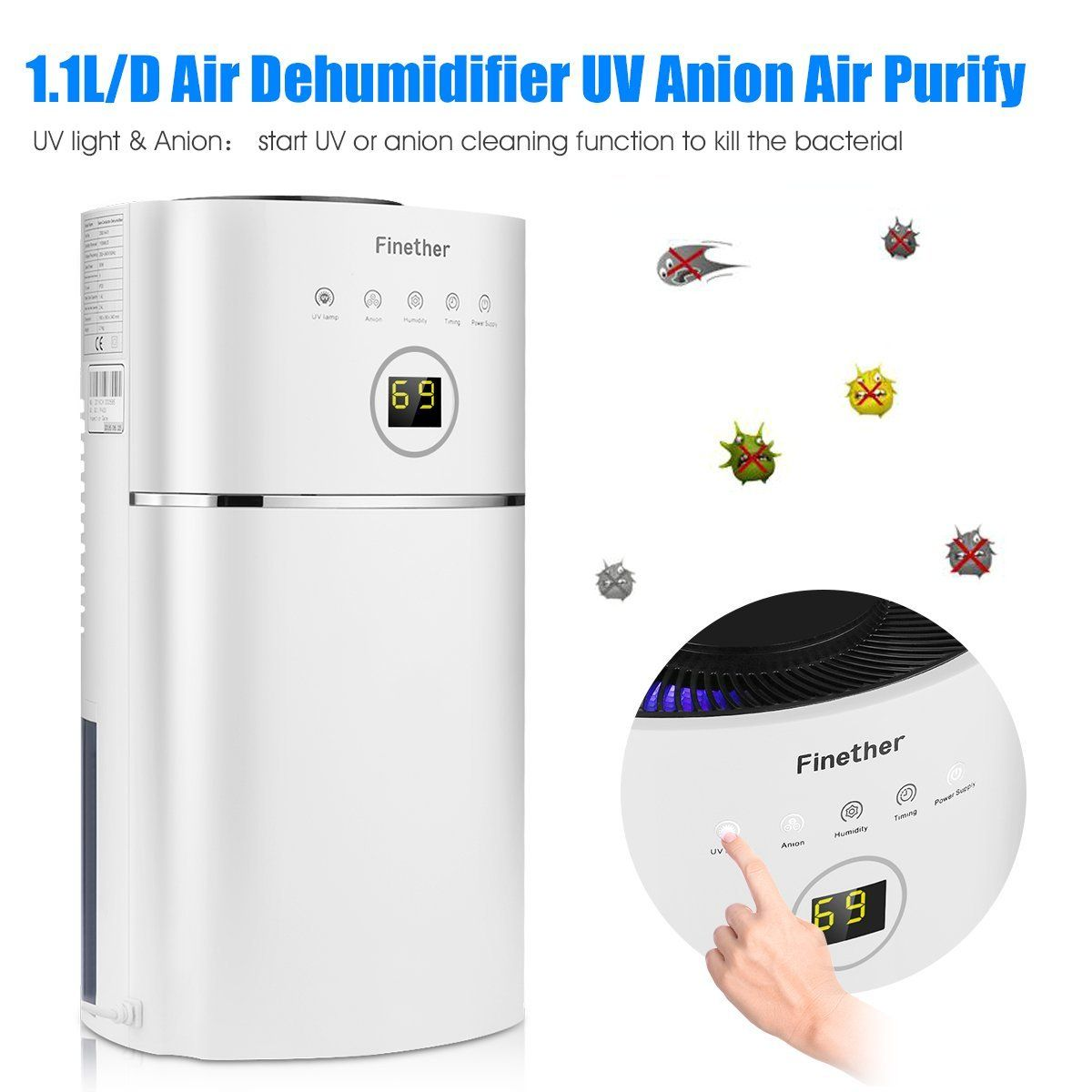 Finether 1.1L/D Digital Air Dehumidifier Anion UV Air Purify Portable  Lightweight Low Energy