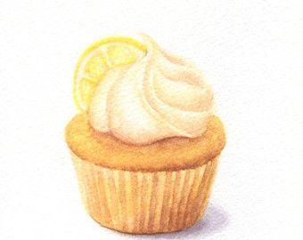 Lemon Cupcake Original Painting Watercolour Food Illustration Watercolor Food Dessert Illustration Watercolor Food Illustration