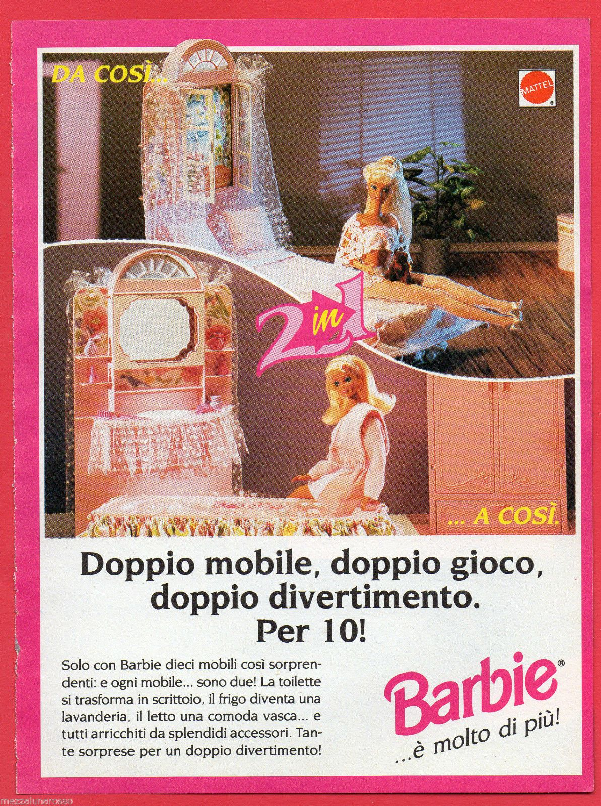 Barbie Bedroom In A Box: 1994 Barbie Foreign Ad - Bedroom / Bathroom