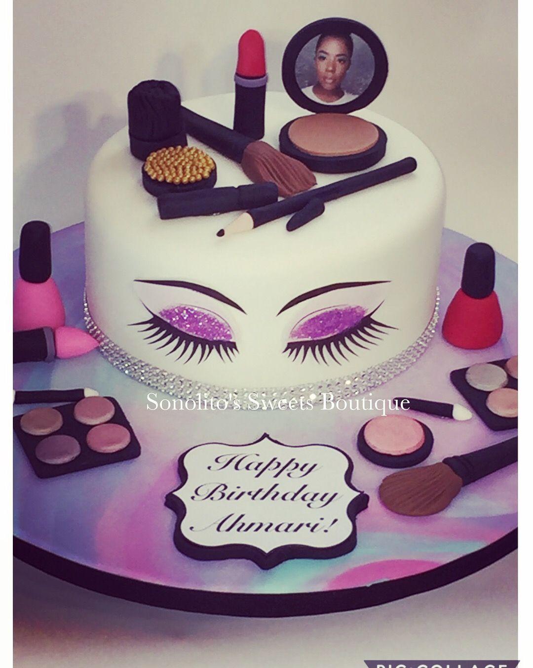 Makeup And Lashes Cake Make Up Cake Makeup Birthday Cakes 13