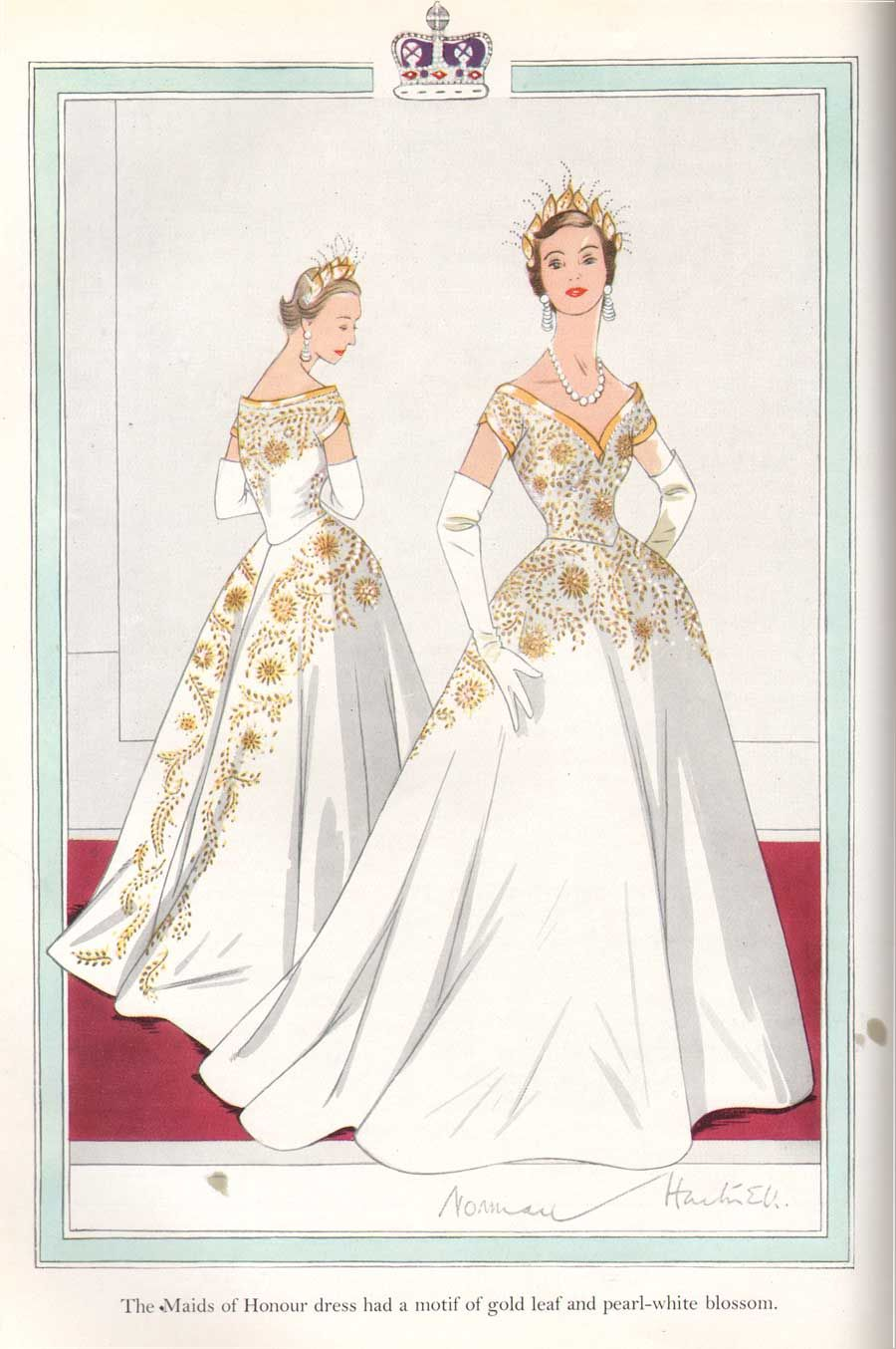 Norman-Hartnell-1953-Coronation-Dress-Maids-of-Honour.