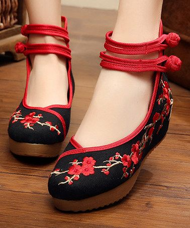 ... Cloth Cotton Shoes Ladies Wedges Wintersweet… embroidered kicks Loving  this Black   Red Floral Embroidered Mary Jane on  zulily!  zulilyfinds 40fe9dc35567