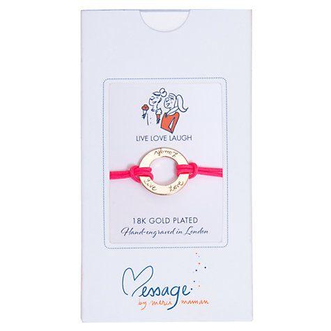 Buy Message by Merci Maman Live Love Laugh Bracelet Online at johnlewis.com