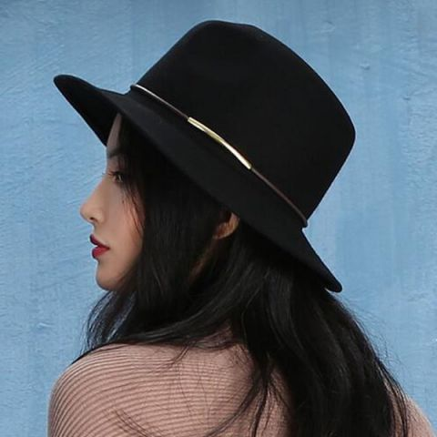 20aa966e51e Plain black felt fedora hat for women wool blend wide brim trilby hats  winter