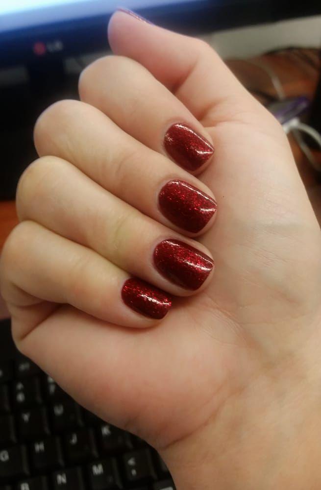 Photo of N&S Nail And Hair Salon - Glendora, CA, United States. My Christmas Acrylic Nails - short, thin and natural - just like I like them! :)