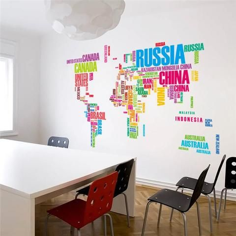 Colorful Letters World Map Wall Stickers For Living Room Study Room Bed Map Wall Decal World Map Wall Decal Wall Stickers World Map