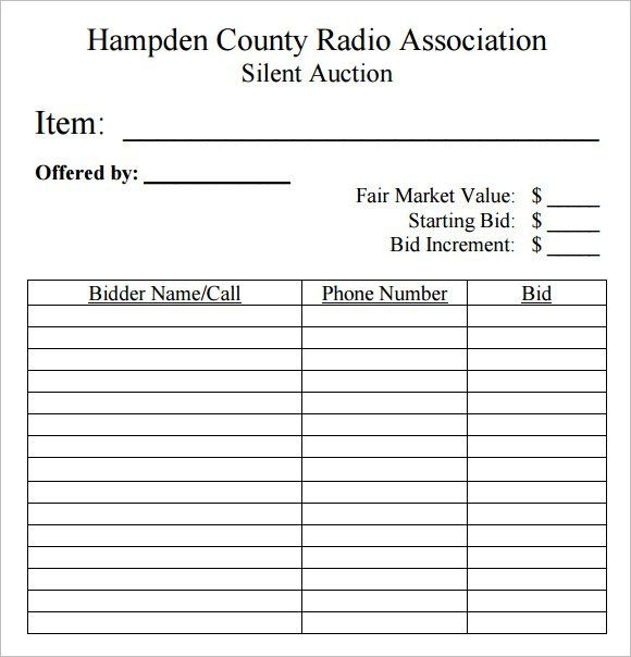 SilentAuctionBidSheetTemplate10FreeSamplesExamples – Sample Silent Auction Bid Sheet