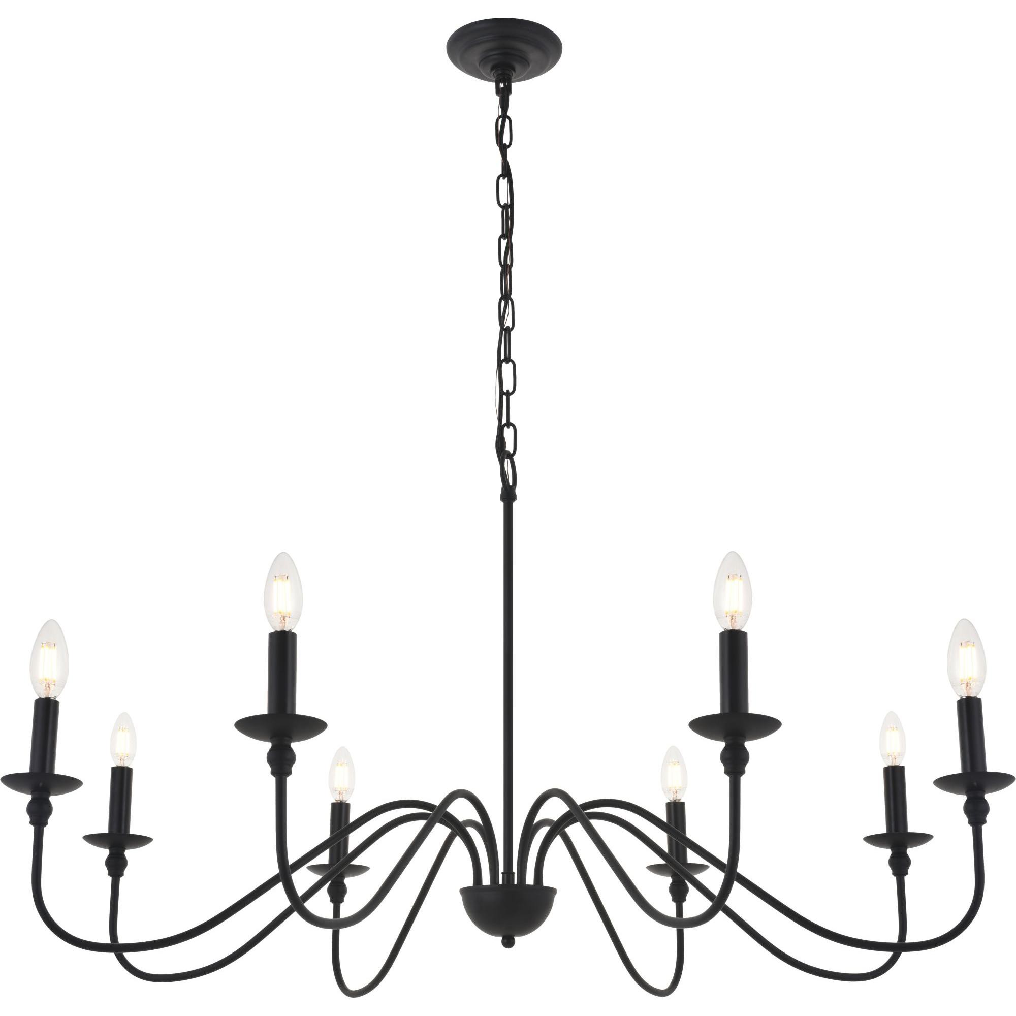 Elegant Lighting Ld5006d42 Rohan 8 Light 42 Wide Taper Candle Chandelier Matte Black Candle Chandelier Black Chandelier Dining Room Black Candle Chandelier