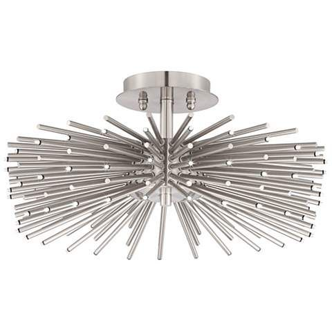 contemporary brushed nickel 75 led semi flush ceiling light t3492