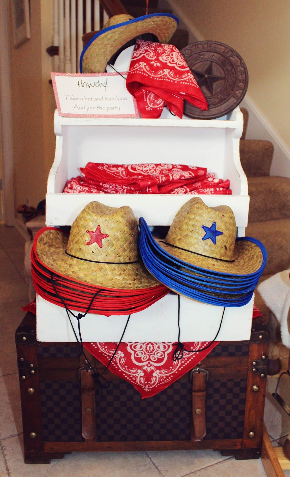 Toy Story Party favors... cowboy hats   bandanas guests should get as they  arrive. Then goody bags as they leave. c07d2839943b