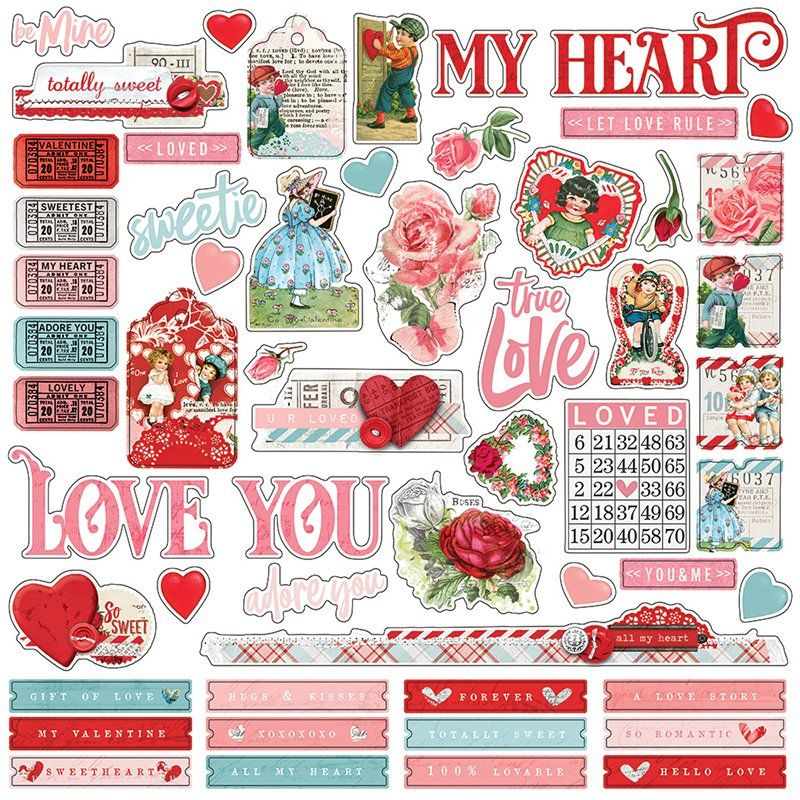 Simple Stories Simple Vintage My Valentine 12x12 Cardstock Combo