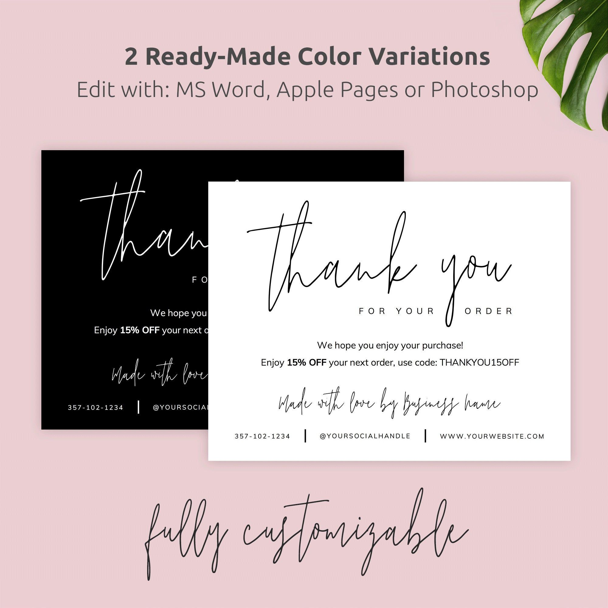 Printable Business Thank You Card Template Corjl Thank You Etsy Business Card Wording Business Thank You Cards Business Thank You Notes