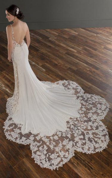 Spaghetti Strap V-neckline Crepe Fit And Flare Wedding Dress With Beading And Embroidery