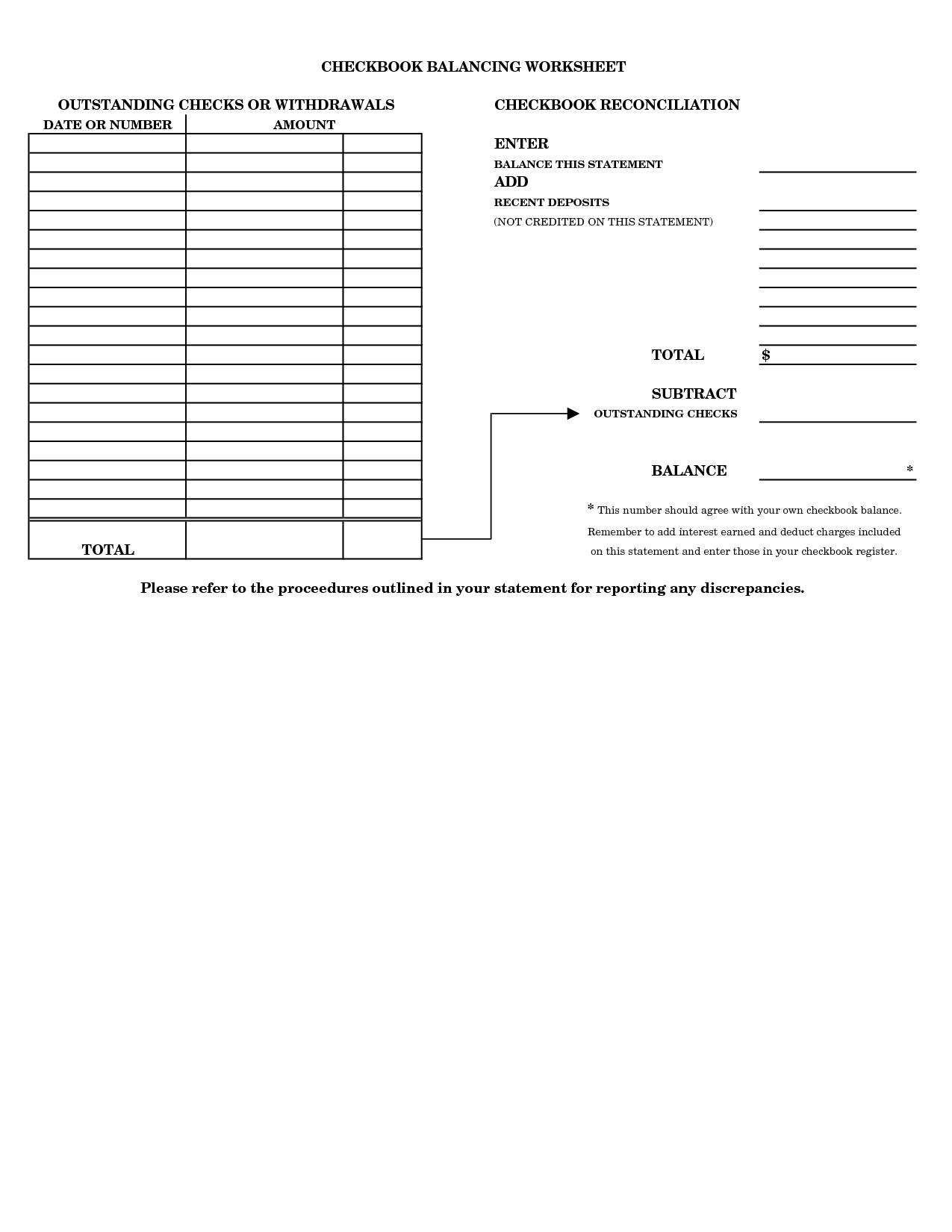 Printable Checkbook Balancing Form