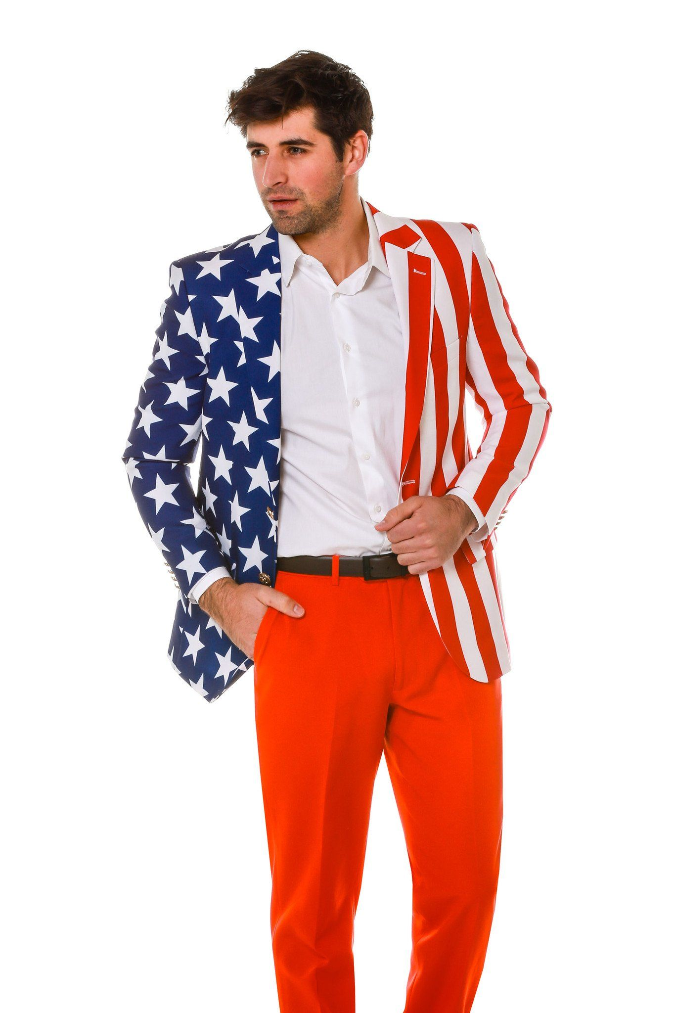 Introducing The Tommy J American Flag Blazer By Shinesty This Red White And Blue Jacket Is Made Of American Flag Suit American Flag Clothes Tiny Black Dress