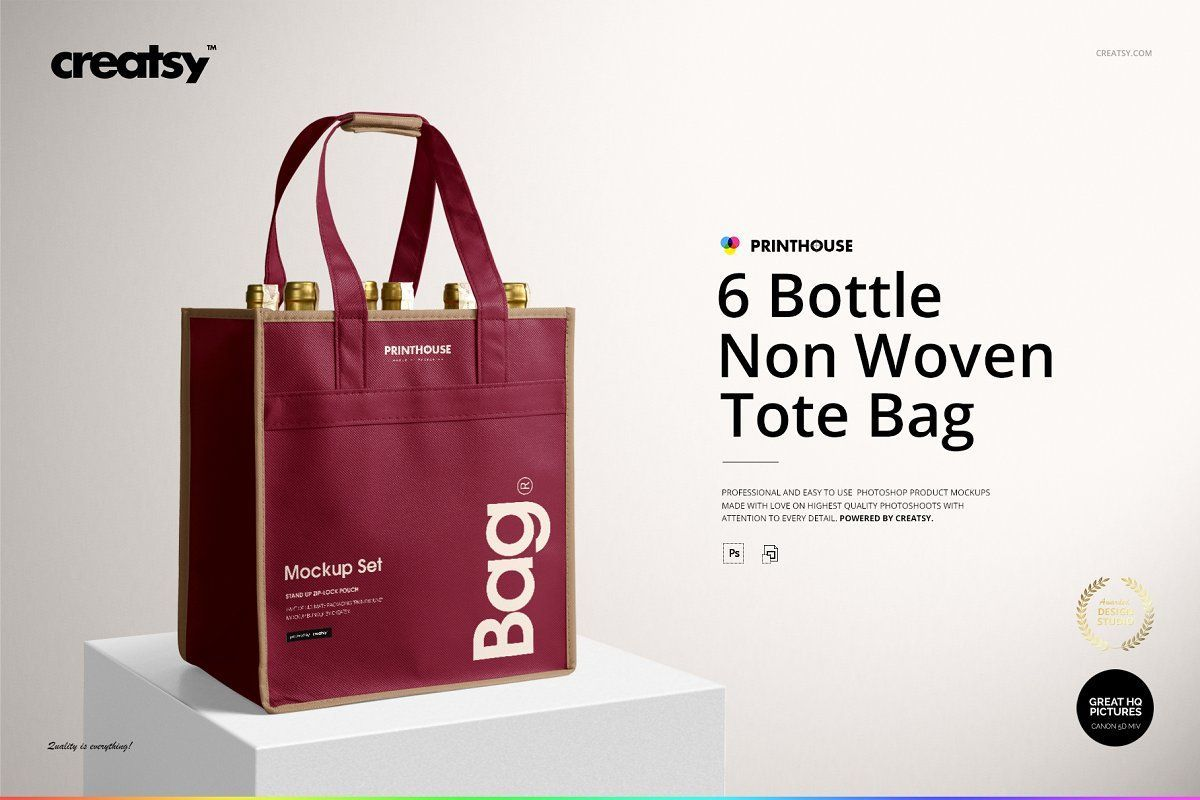6 Bottle Non Woven Tote Bag Mockups Woven Tote Bag Bag Mockup Tote Bag