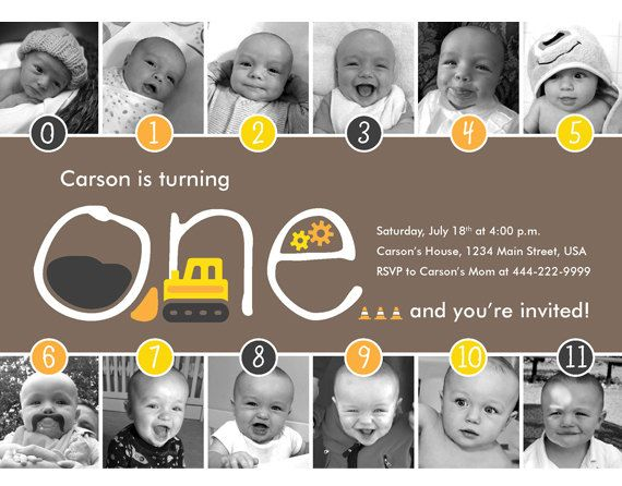 NEW - Construction Timeline FIrst Birthday Invitation Kids party - construction timeline
