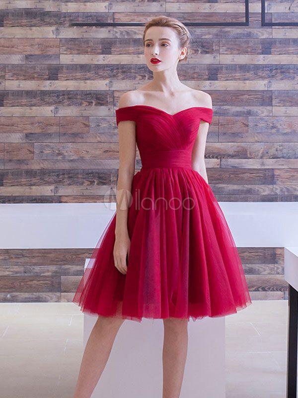 27bd62517 Vestido de fiesta 2018 Vestido de Baile de tul de color borgoña con escote  de hombros caídos De banda de encaje de línea A sin mangas con adorno  arrugado