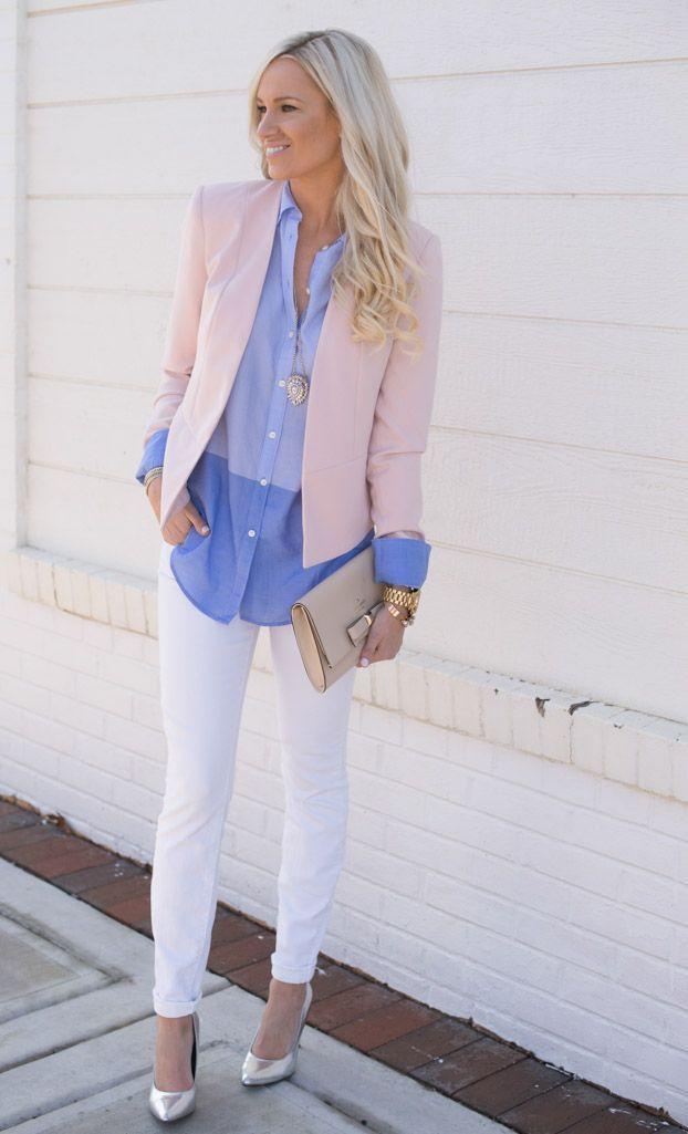 бледно розовый пиджак с джинсами фото годы