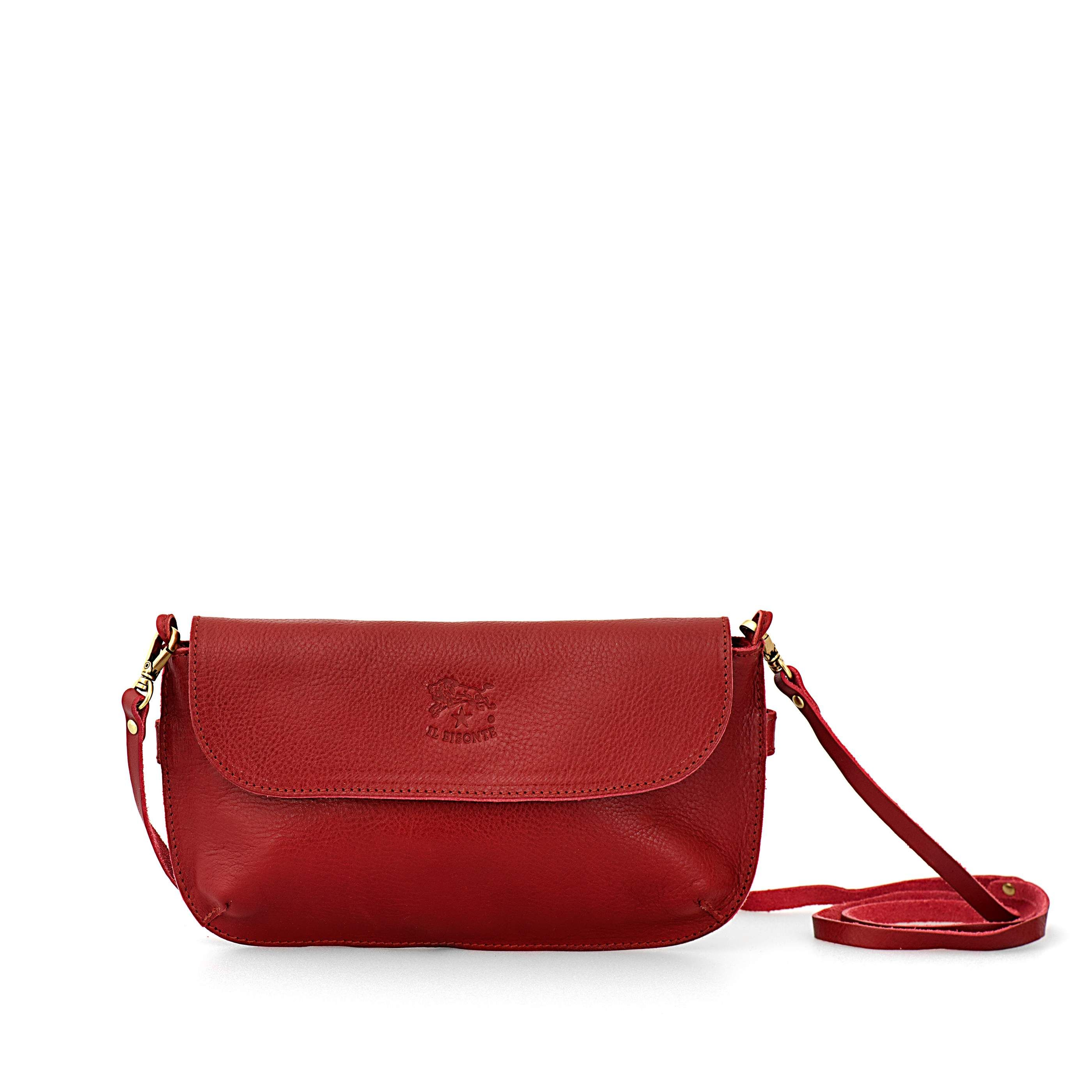 Woman s Clutch Bag in Cowhide Leather A2319 (color Red) - IlBisonte ... fde781055e3a5