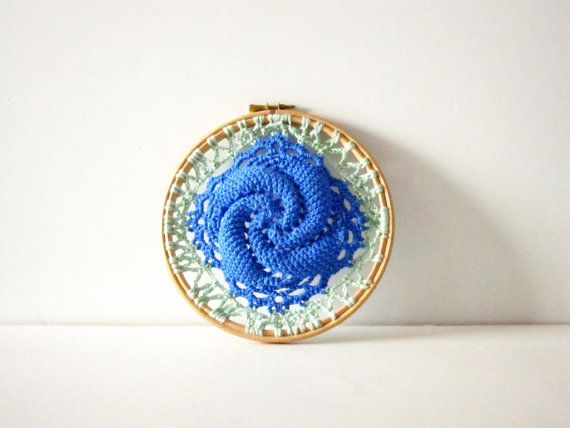 Spiral crochet wall decor. Embroidery hoop. by sidirom on Etsy
