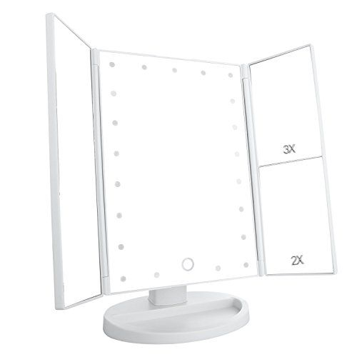 Tri Fold Vanity Mirror With Lights Amusing Deweisn Trifold Lighted Vanity Makeup Mirror With 21 Led Lights Design Ideas