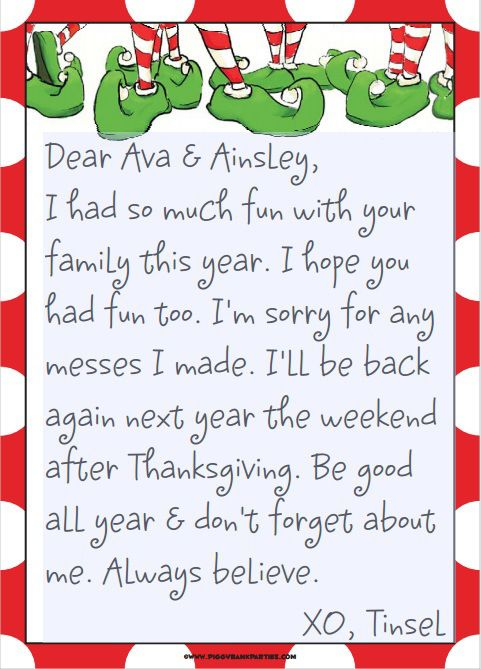Good Bye Letter From Elf On The Shelf For The Boys Lutin Coquin