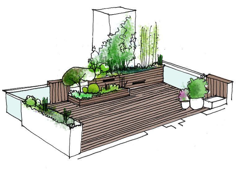 Dibujo jard n en tico vista general dibujos croquis y - Diseno de terrazas aticos ...