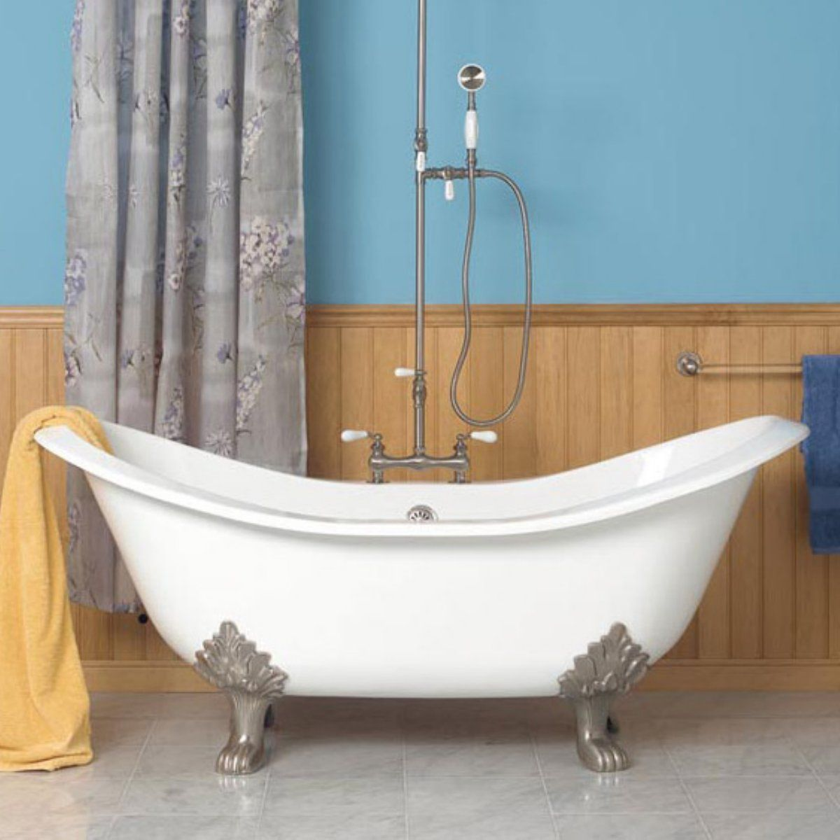 Bathtubs And Showers Clawfoot Tubs With Wood Wall Decoration And Blue Paint  Color